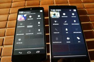 Nexus 5 vs OnePlus One Menu