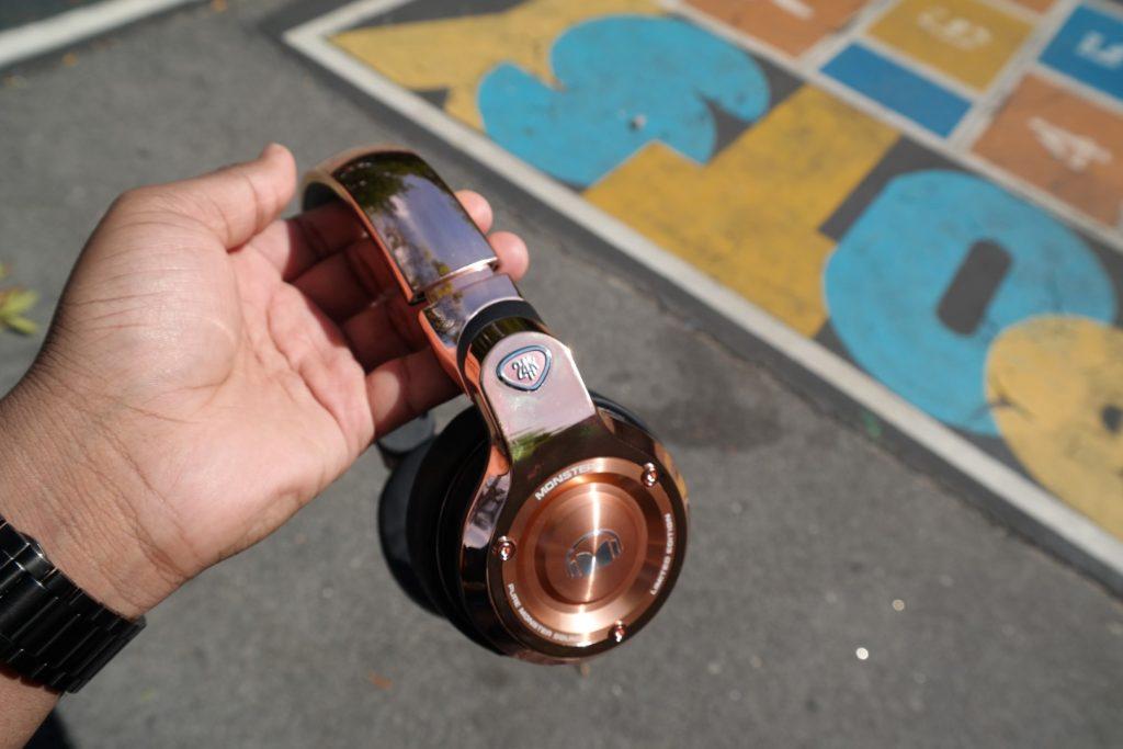 Monster 24K Headphones Rose Gold in Hand 2